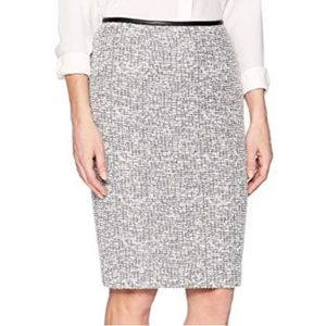 Calvin Klein Faux Leather Trimmed Pencil Skirt